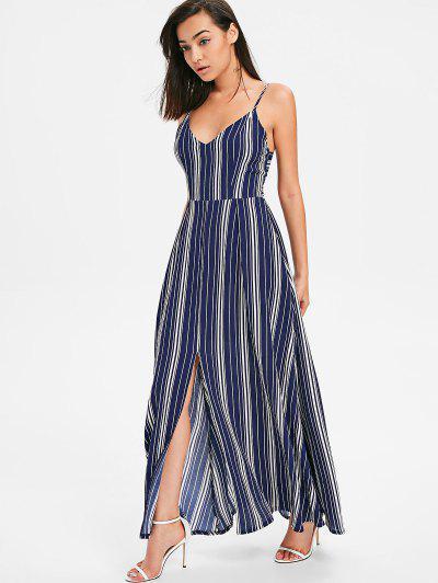 Bow Tie Cami Striped Maxi Dress - Midnight Blue S .