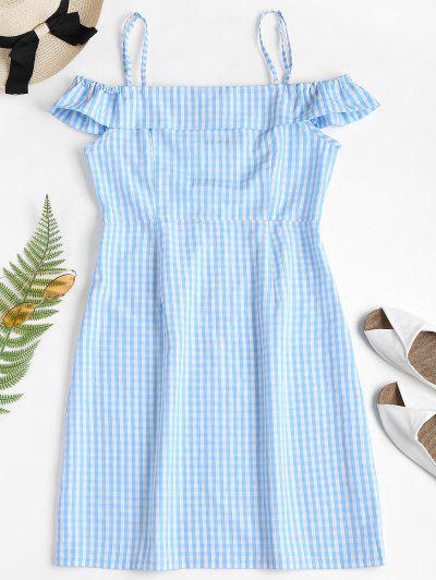 Cold Shoulder Gingham Mini Dress - Light Blue L