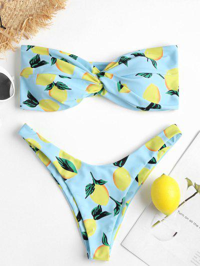 Lemon Print High Cut Bikini Set - Light Blue S