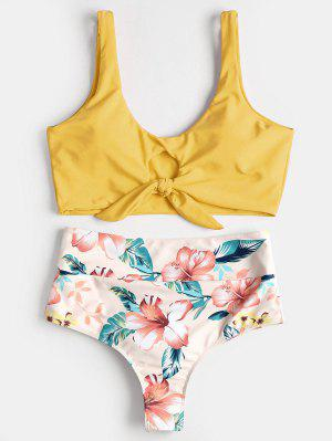 Knotted Floral Scrunch Butt Bikini Set - Rubber Ducky Yellow L