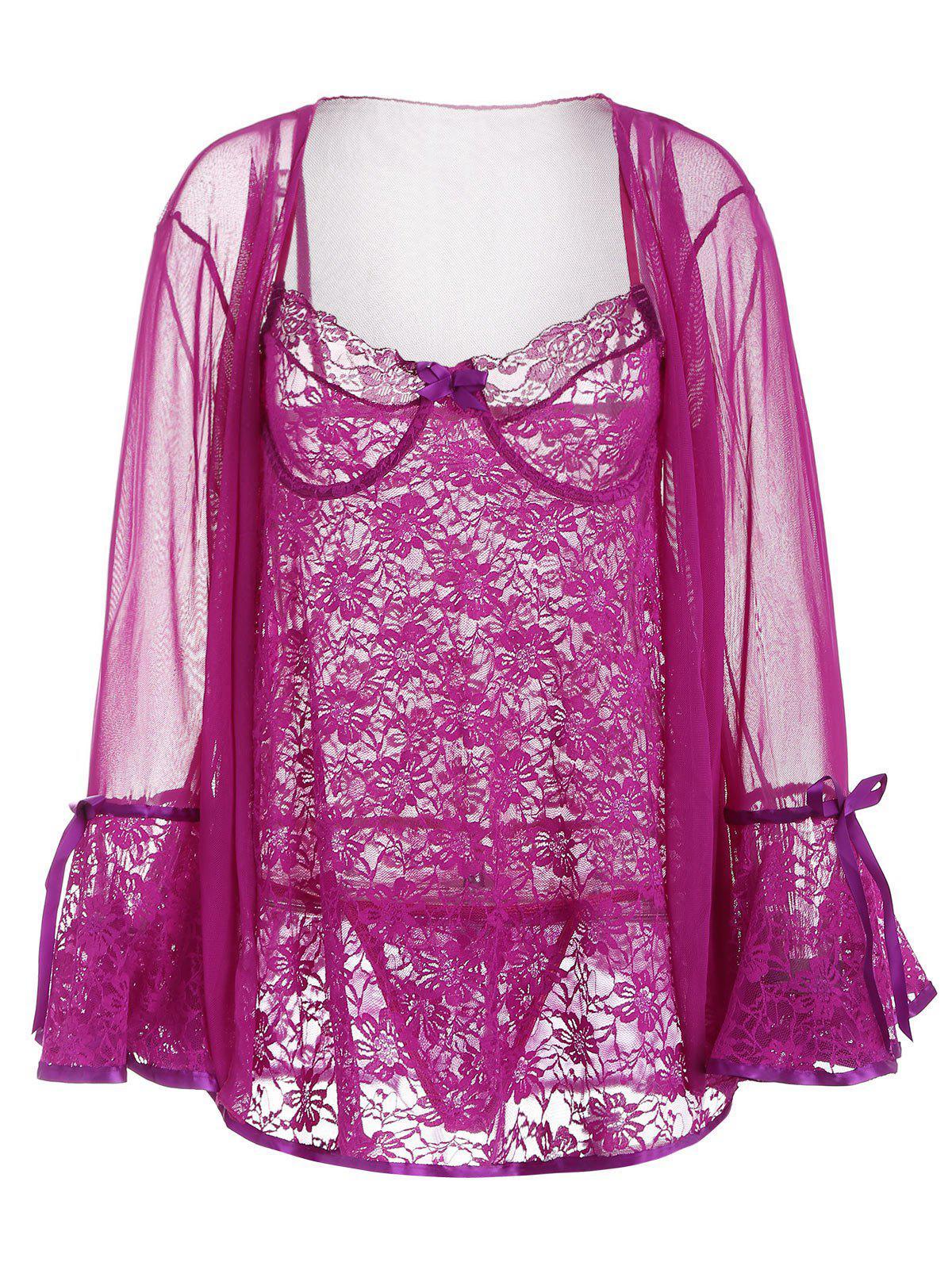 Underwire Lace Babydoll and Mesh Kimono 263939401