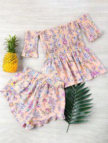 Conjunto Top Y Florales Rosa Hombros Pantalones De Sin S Claro rtwExIrq
