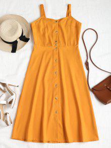 فستان زر ميدي - بني ذهبي L