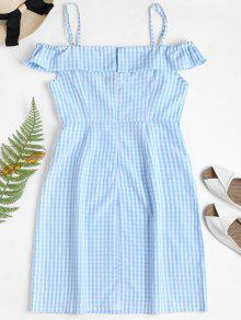 b7bdad3eeca0 27% OFF] 2019 Cold Shoulder Gingham Mini Dress In LIGHT BLUE | ZAFUL