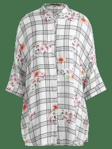 Con Vestido 225;n Manga S De De Floral Murci 233;lago Camisa Blanco Tart Wrx4WTnA