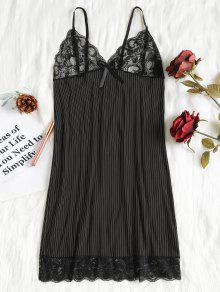 قميص نوم مخطط - أسود 2xl