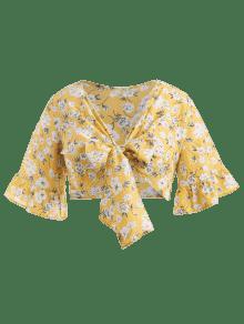 Cultivo Autob Amarillo Con De Lazo De Blusa Floral Anudado 16wFZ5x8q