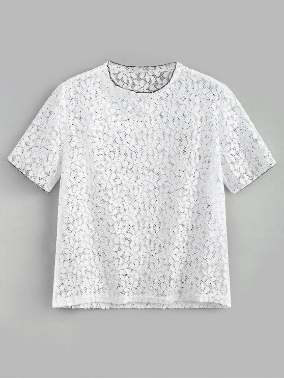 trendy Eyelet Lace Top - WHITE S