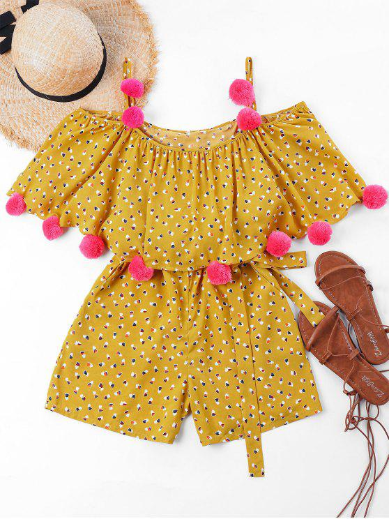 fancy Heart Print Pom Pom Cami Romper - SCHOOL BUS YELLOW XL