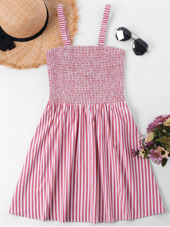 unique Sleeveless Shirred Striped Dress - RED XL