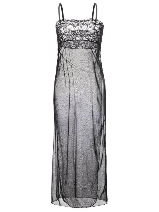 ladies Mesh Maxi Nightdress - BLACK 2XL