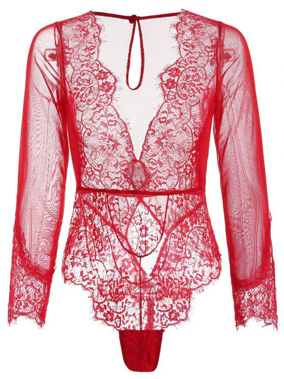 Lace and Mesh Long Sleeve Teddy - Amo Rojo S