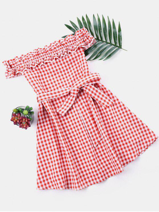 affordable Ruffle Off The Shoulder Gingham Dress - RED XL
