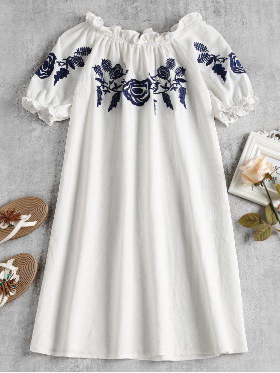 قبالة الكتف تحول اللباس المطرزة - أبيض حجم واحد