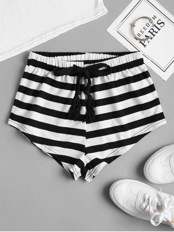 Pantalones cortos a rayas con cordón - Negro M