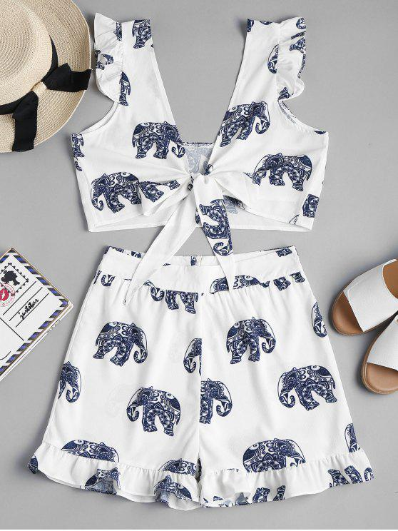outfits Tie Front Elephant Shorts Two Piece Set - WHITE M