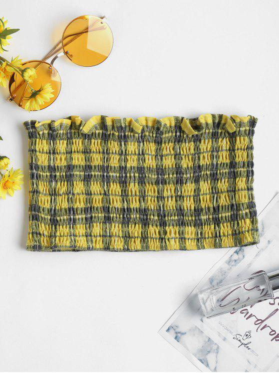 womens Checked Smocked Crop Tube Top - YELLOW M