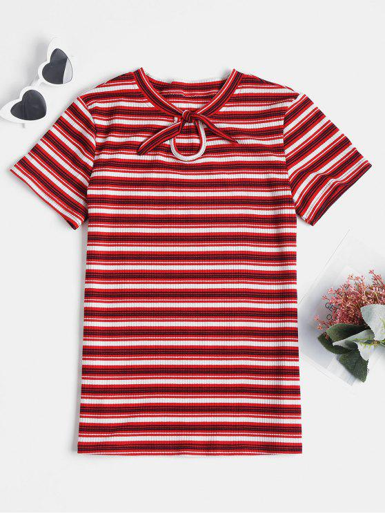 lady Knotted Striped Knit Tee - RED WINE L