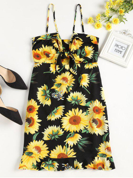 latest Tied Front Sunflower Dress - BLACK S