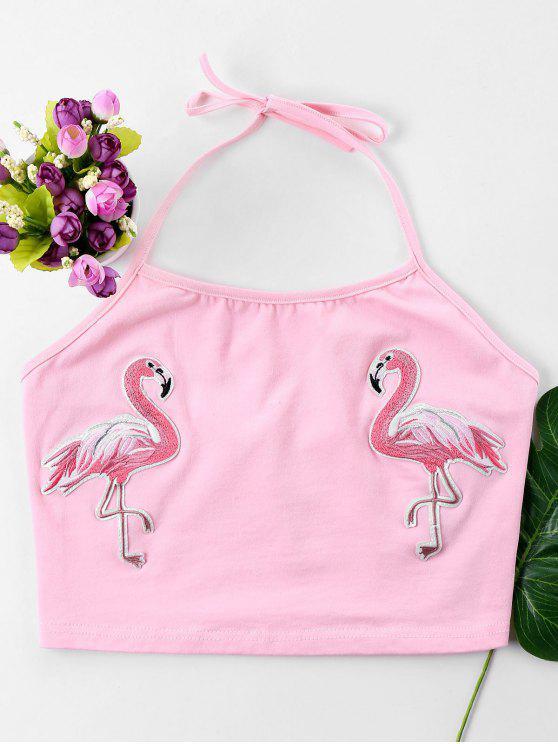 fancy Flamingos Halter Crop Top - LIGHT PINK M