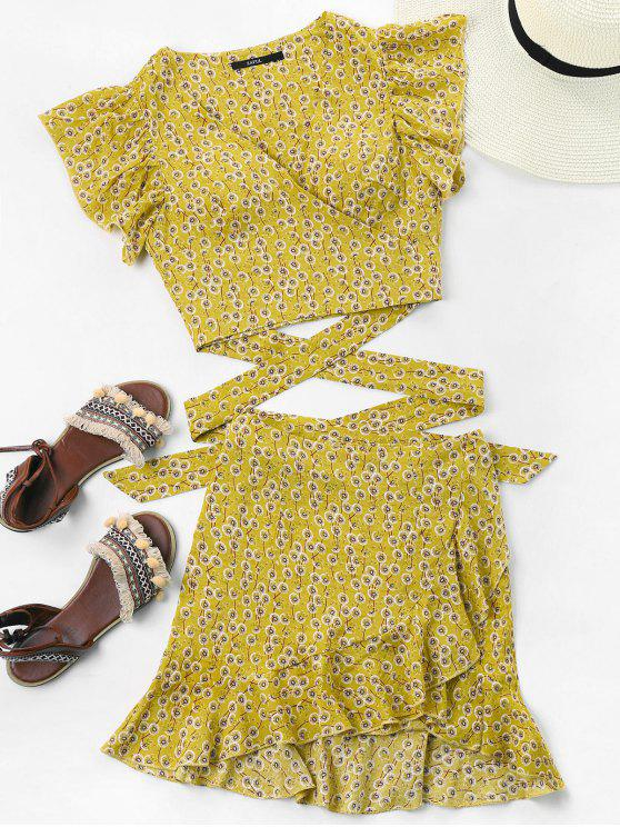 ladies Wrap Top and Skirt Set - YELLOW L