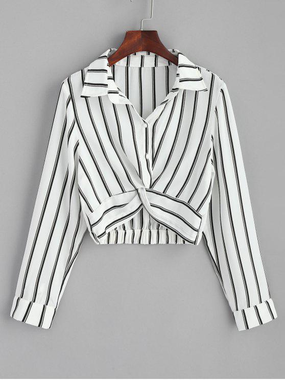 قميص مقلم - أبيض L