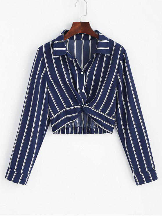 unique Striped Twisted Shirt - MIDNIGHT BLUE L