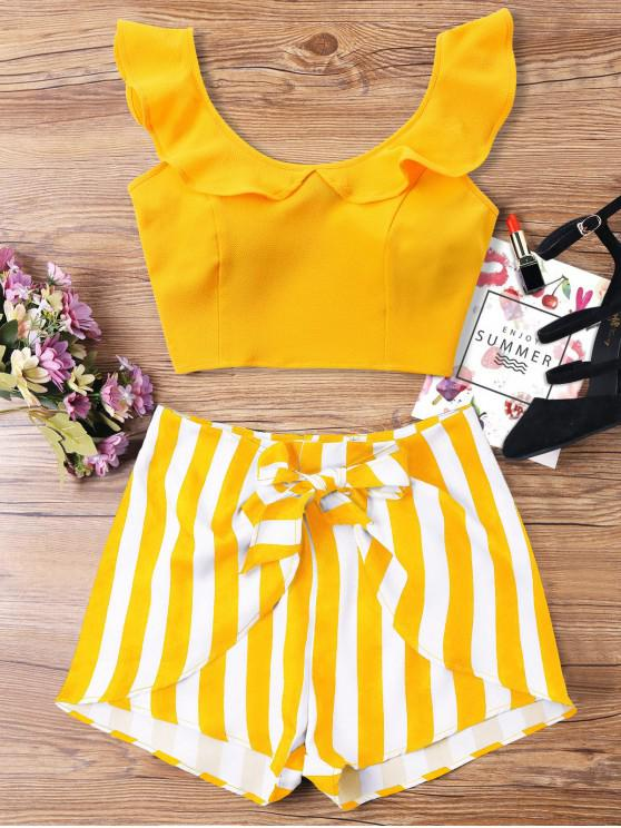 unique Ruffle Striped Shorts Two Piece Set - BEE YELLOW S