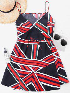 Print Spaghetti Strap Wrap Dress - Multi-a Xl