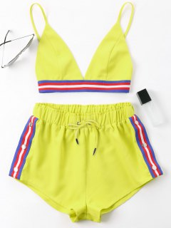 Bra Two Piece Shorts Tracksuit - Yellow S