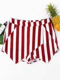 Pantalones Cortos Superpuestos A Rayas - Vino Tinto L
