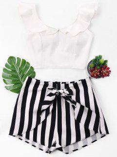 Ruffle Striped Shorts Two Piece Set - White L