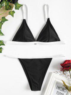 Bikini Rembourré à Col Plongeant  - Noir S