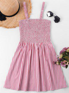 Sleeveless Shirred Striped Dress - Red M