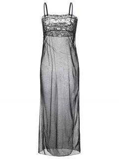 Mesh Maxi Nightdress - Black L