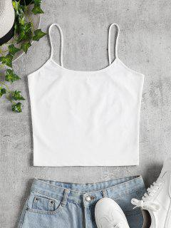 Crop Top Brillant à Bretelles - Blanc S