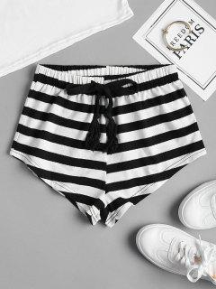 Drawstring Striped Shorts - Black L