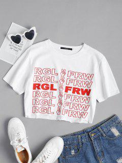 Letter Print Crop Tee - White L