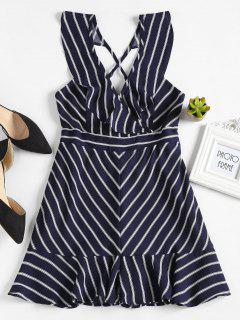 Ruffles Striped Plunge Romper - Dark Slate Blue S