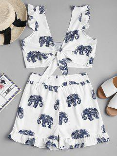 Tie Front Elephant Shorts Two Piece Set - White M