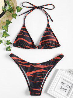 Zebra-Stripe Halter Bikini Set - Black S