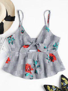 Floral Plaid Knotted Blouse - Black S