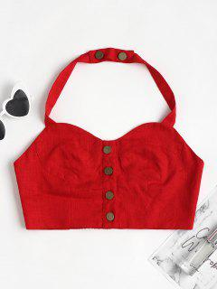 Button Halter Crop Bustier Top - Lava Red L