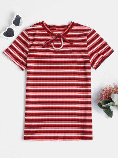 Knotted Striped Knit Tee - Red Wine S
