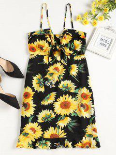 Tied Front Sunflower Dress - Black S