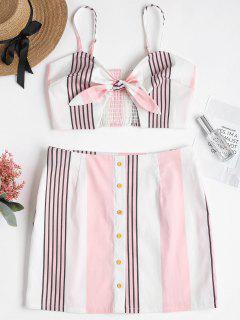 Stripes Tied Front Skirt Set - Pink Bubblegum M