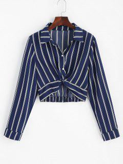 Striped Twisted Shirt - Midnight Blue M