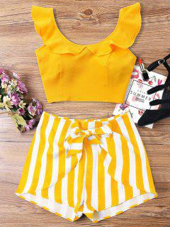 Ruffle Striped Shorts Two Piece Set - Bee Yellow L