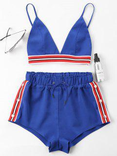 Bra Two Piece Shorts Tracksuit - Royal Blue S