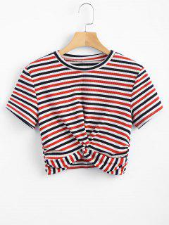 Striped Twist Knitted Tee - Red M